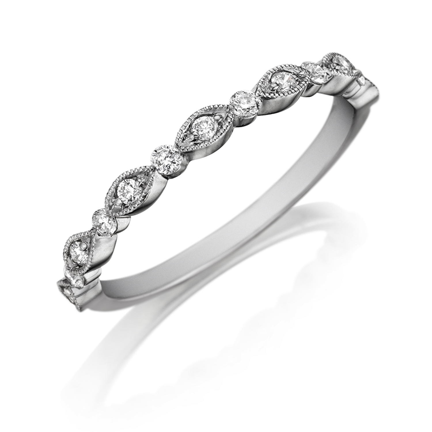 ring three com milgrain diamond stone engagement junikerjewelry