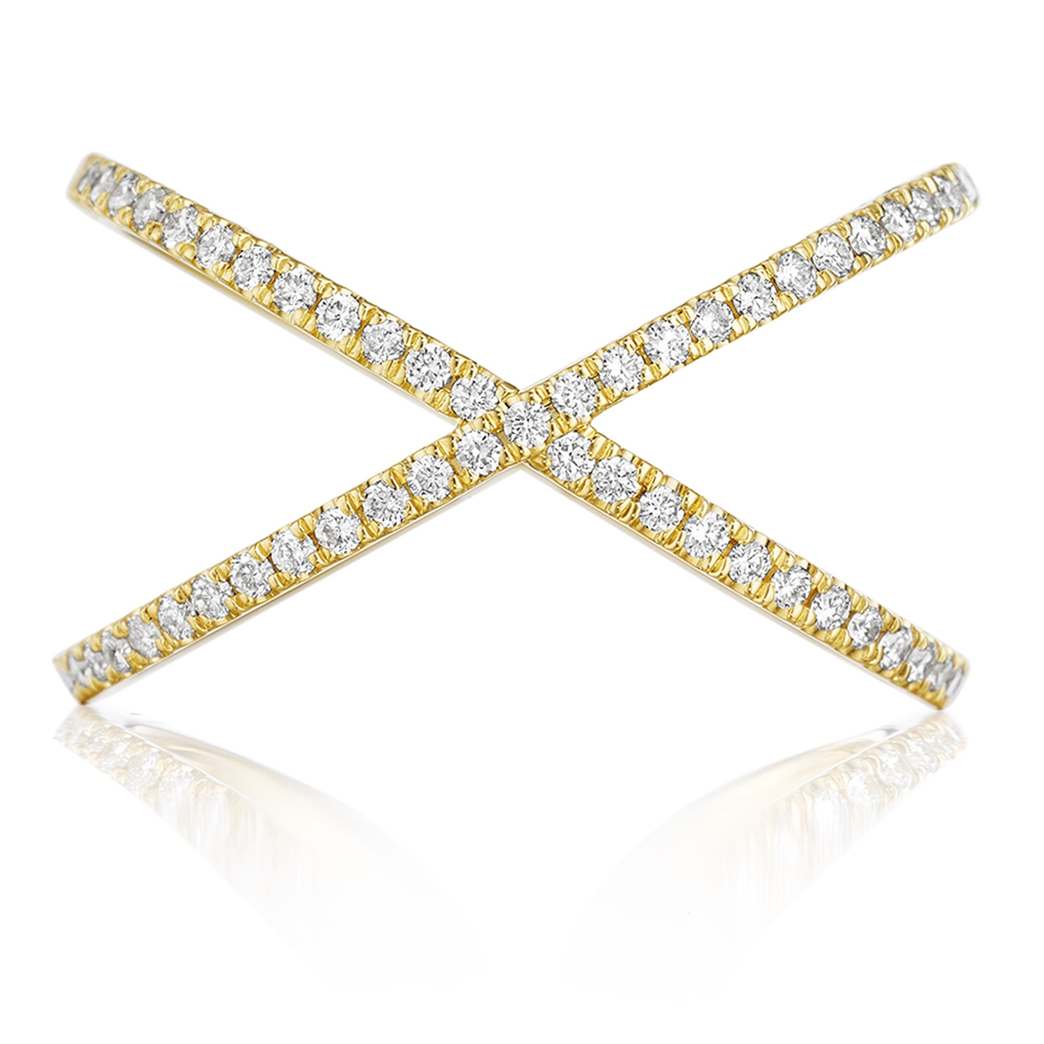 Henri Daussi R38 3 Yellow Gold Criss Cross Pave Set Diamond Band