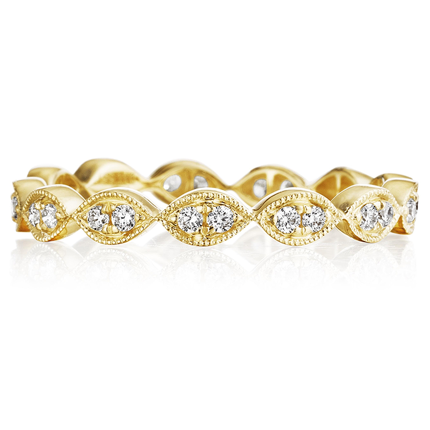 Henri Daussi R42-3 Yellow Gold Bead Set Diamond Band with Miligrain Detail Alternative View 3