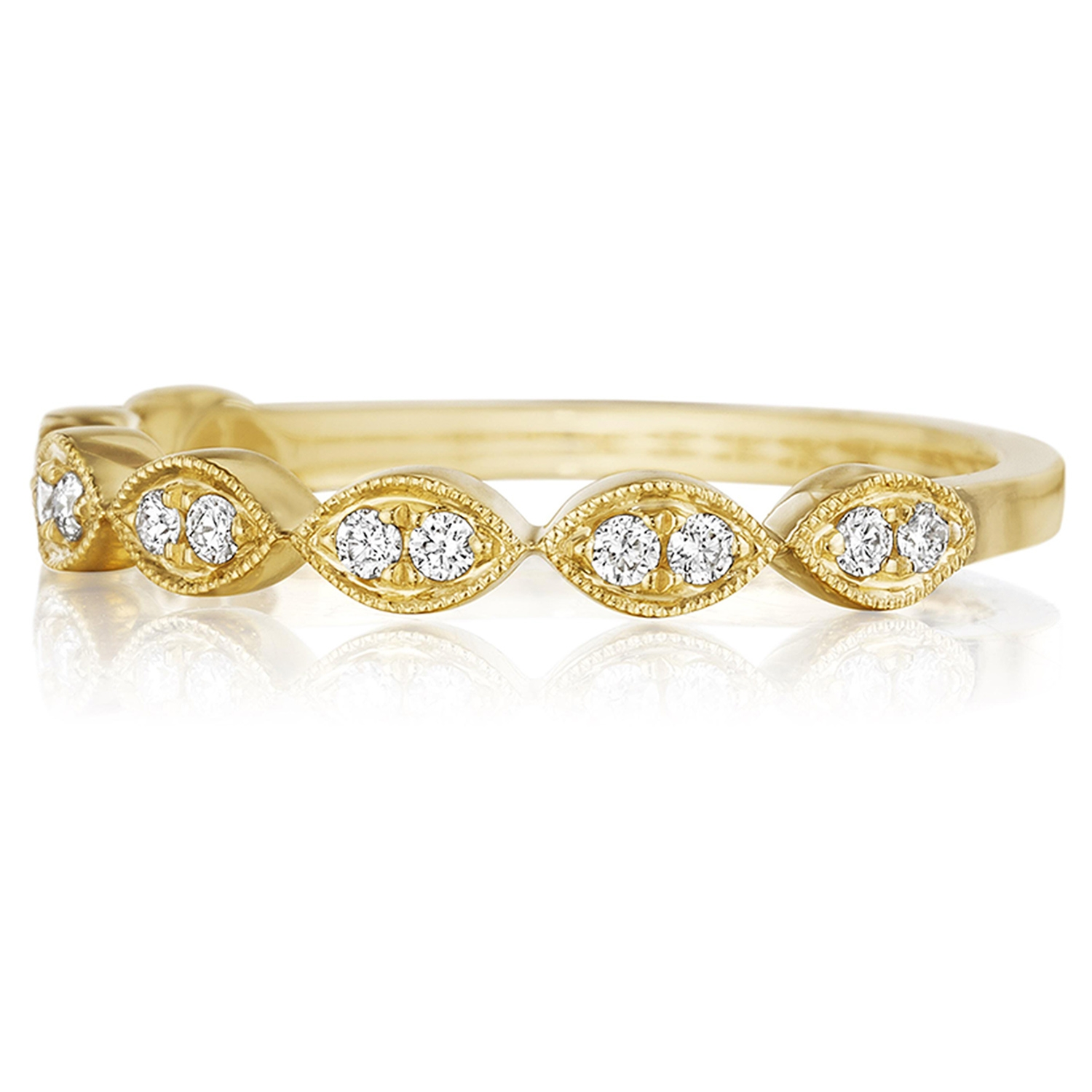 Henri Daussi R42-3 Yellow Gold Bead Set Diamond Band with Miligrain Detail Alternative View 1