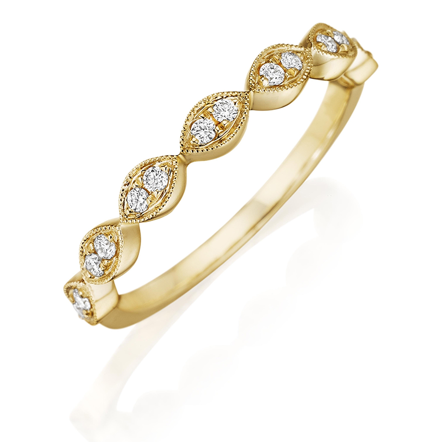 Henri Daussi R42-3 Yellow Gold Bead Set Diamond Band with Miligrain Detail