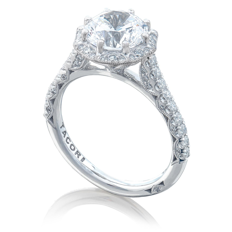 Tacori Ht2555rd8 18 Karat Petite Crescent Engagement Ring