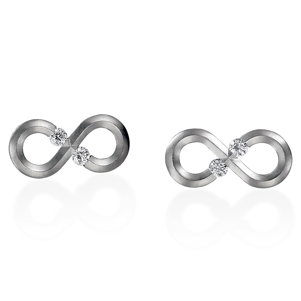 Kretchmer Platinum Infinity Tension Set Earrings