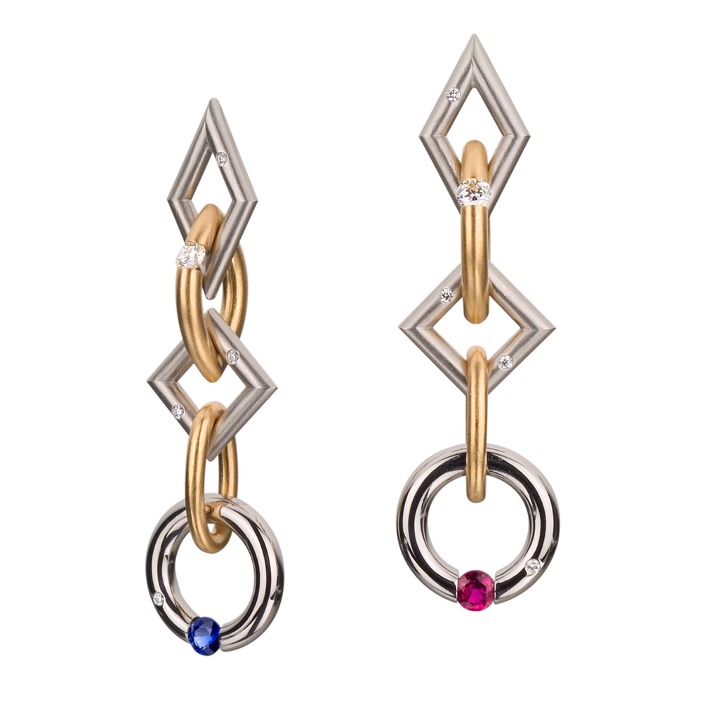 Kretchmer 18 Karat Long Jazz Tension Set Earrings