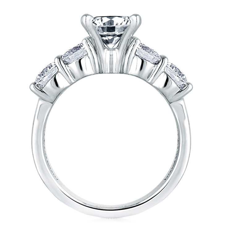 A Jaffe Platinum Classic Engagement Ring ME1083  Alternative View 1