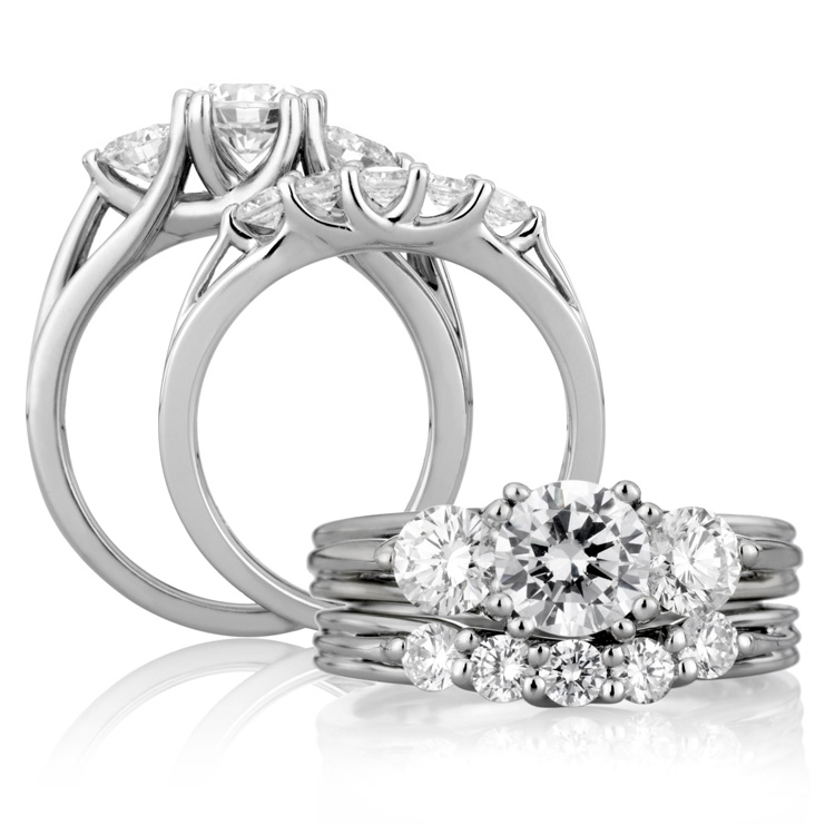 A Jaffe Platinum Three-Stone Engagement Ring ME1279  Alternative View 3