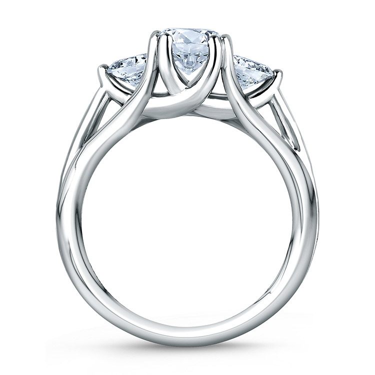 A Jaffe Platinum Three-Stone Engagement Ring ME1279  Alternative View 1