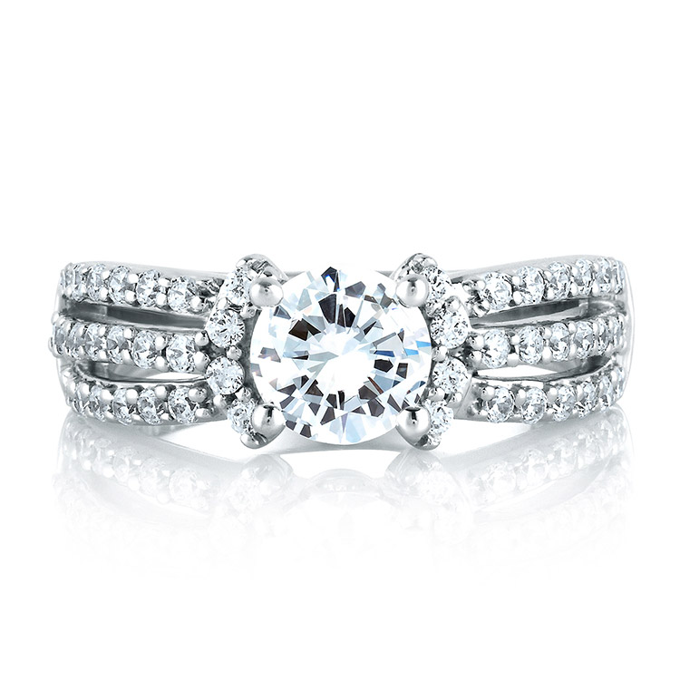 A Jaffe Platinum Classic Engagement Ring ME1288  Alternative View 2