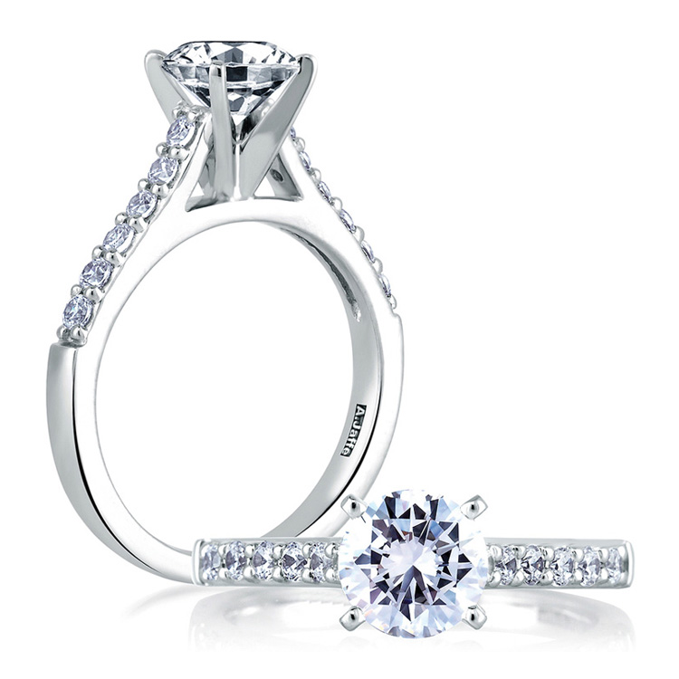A Jaffe Platinum Classic Engagement Ring ME1353