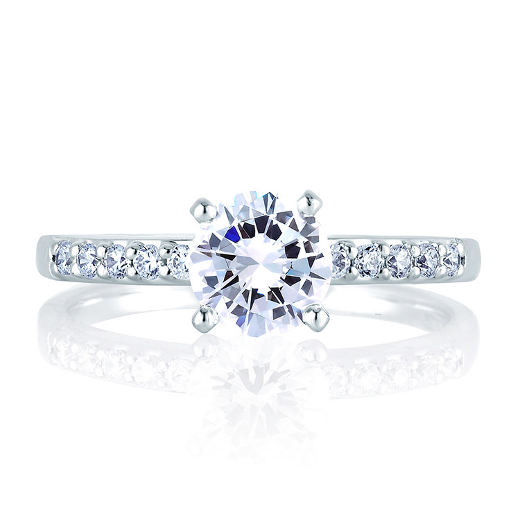 A Jaffe Platinum Classic Engagement Ring ME1401 Alternative View 2