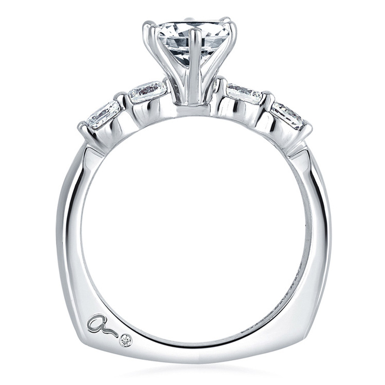 A Jaffe Platinum Signature Engagement Ring MES015 Alternative View 1
