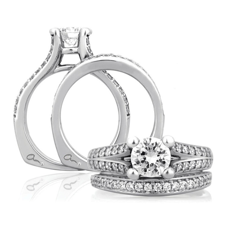 A Jaffe Platinum Signature Engagement Ring MES017 Alternative View 3