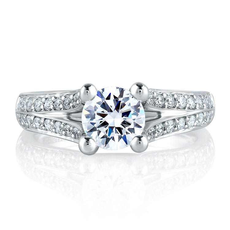 A Jaffe Platinum Signature Engagement Ring MES017 Alternative View 2