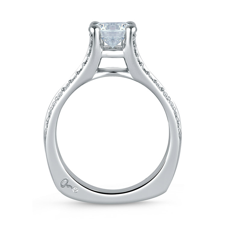 A Jaffe Platinum Signature Engagement Ring MES017 Alternative View 1