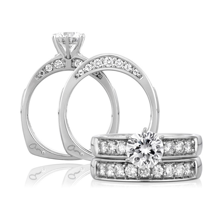 A Jaffe Platinum Signature Engagement Ring MES025 Alternative View 3