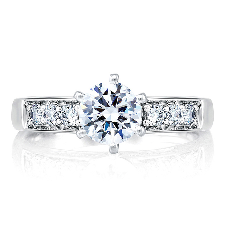 A Jaffe Platinum Signature Engagement Ring MES025 Alternative View 2