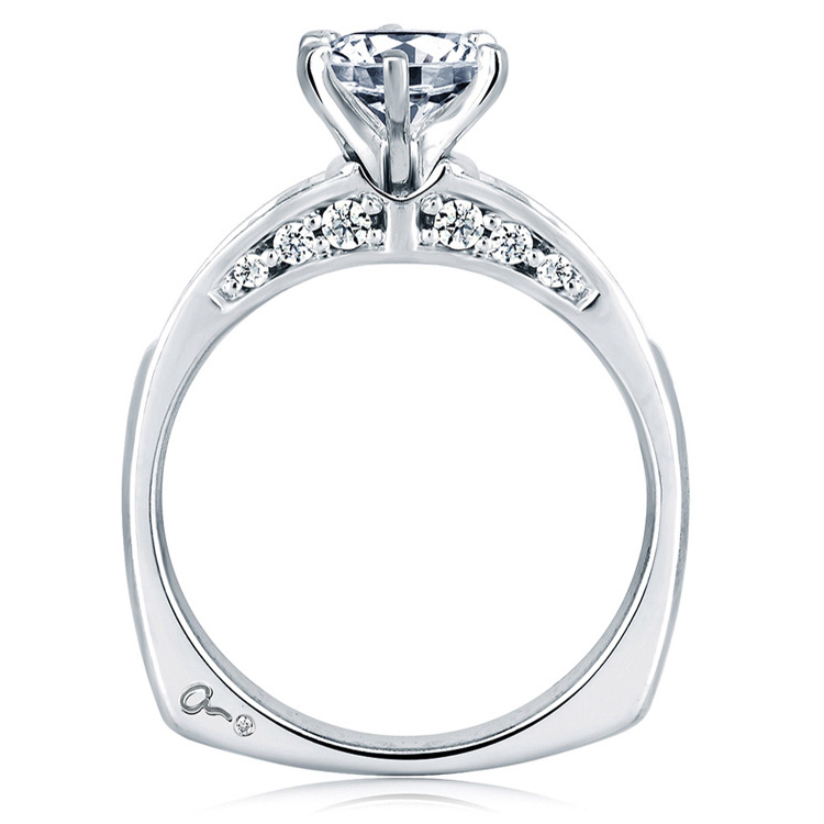 A Jaffe Platinum Signature Engagement Ring MES025 Alternative View 1