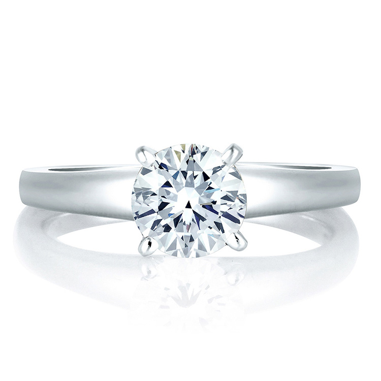 A Jaffe Platinum Solitaire Engagement Ring MES032 Alternative View 2