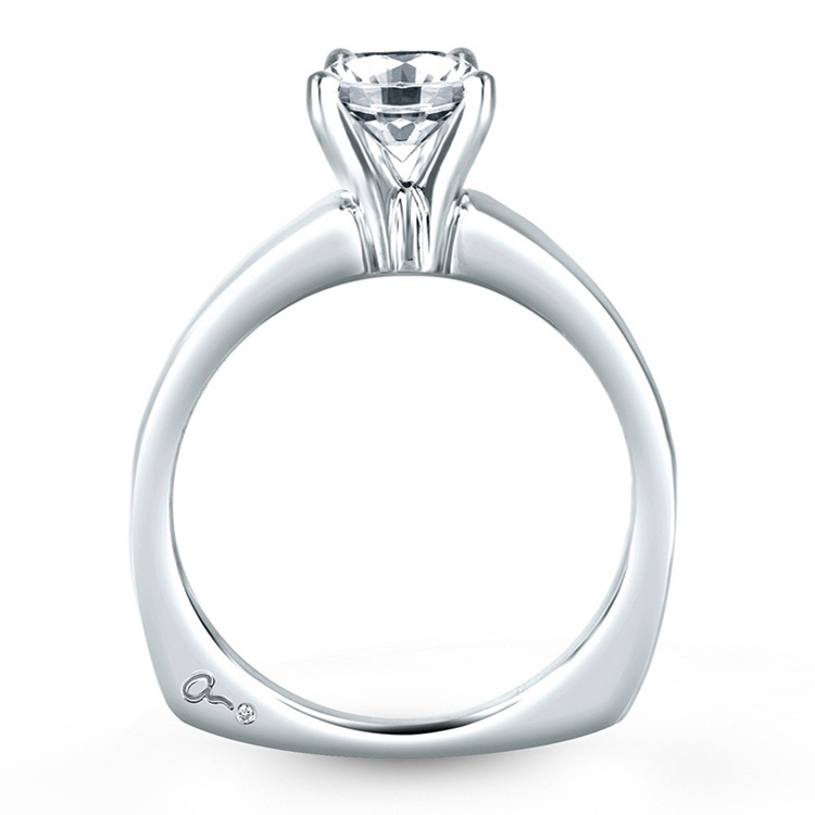 A Jaffe Platinum Solitaire Engagement Ring MES032 Alternative View 1