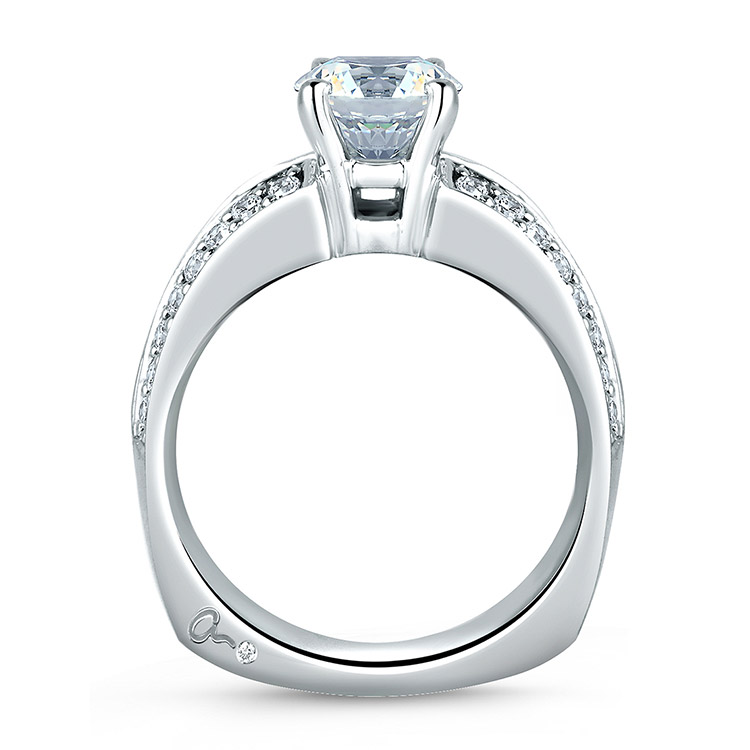 A Jaffe Platinum Signature Engagement Ring MES045 Alternative View 1
