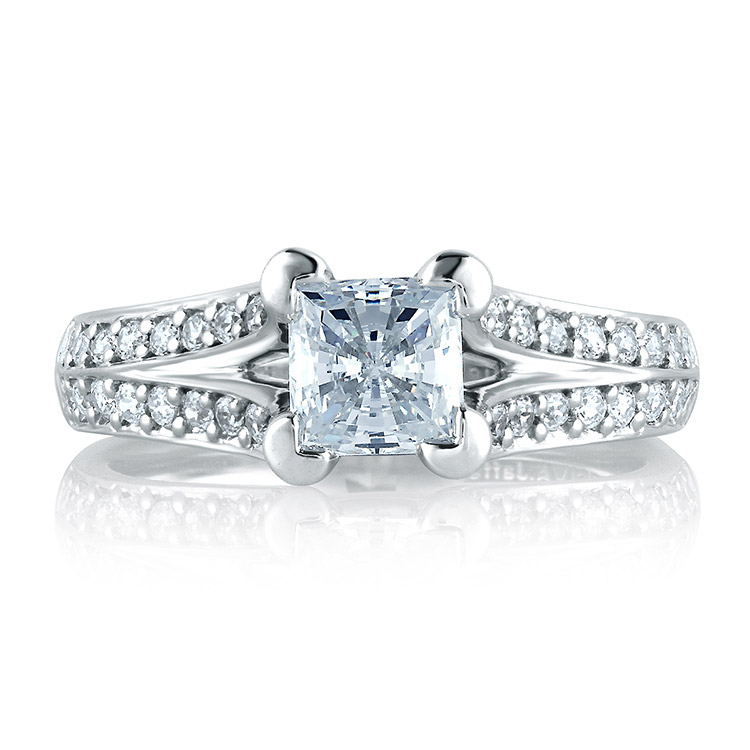 A Jaffe Platinum Signature Engagement Ring MES068  Alternative View 2