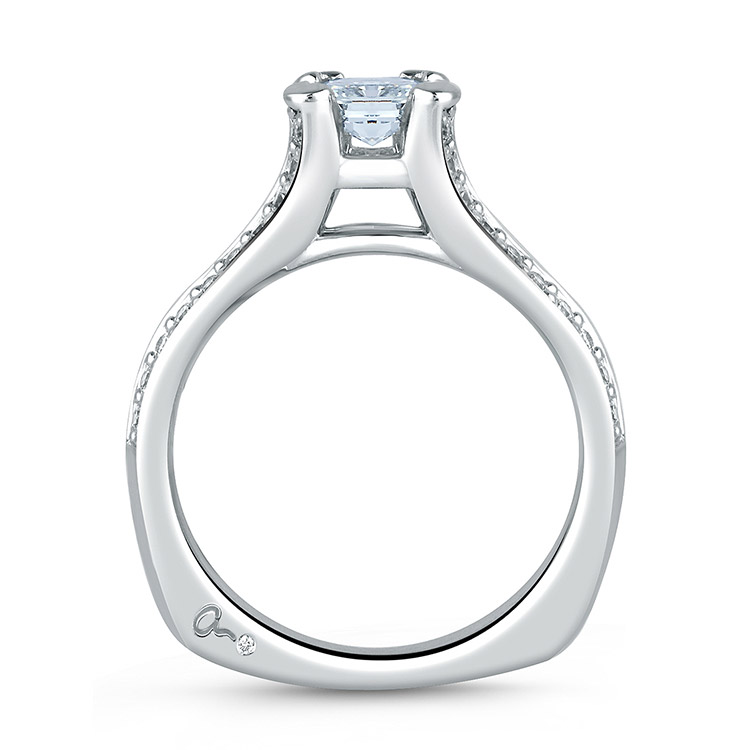A Jaffe Platinum Signature Engagement Ring MES068  Alternative View 1