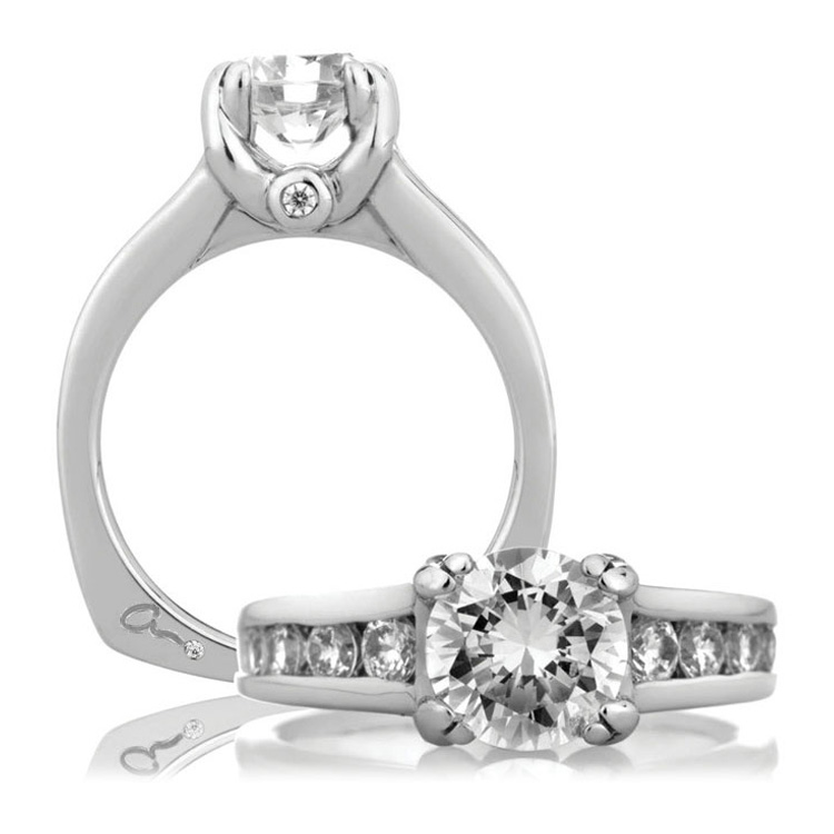 A Jaffe Platinum Signature Engagement Ring MES090  Alternative View 3
