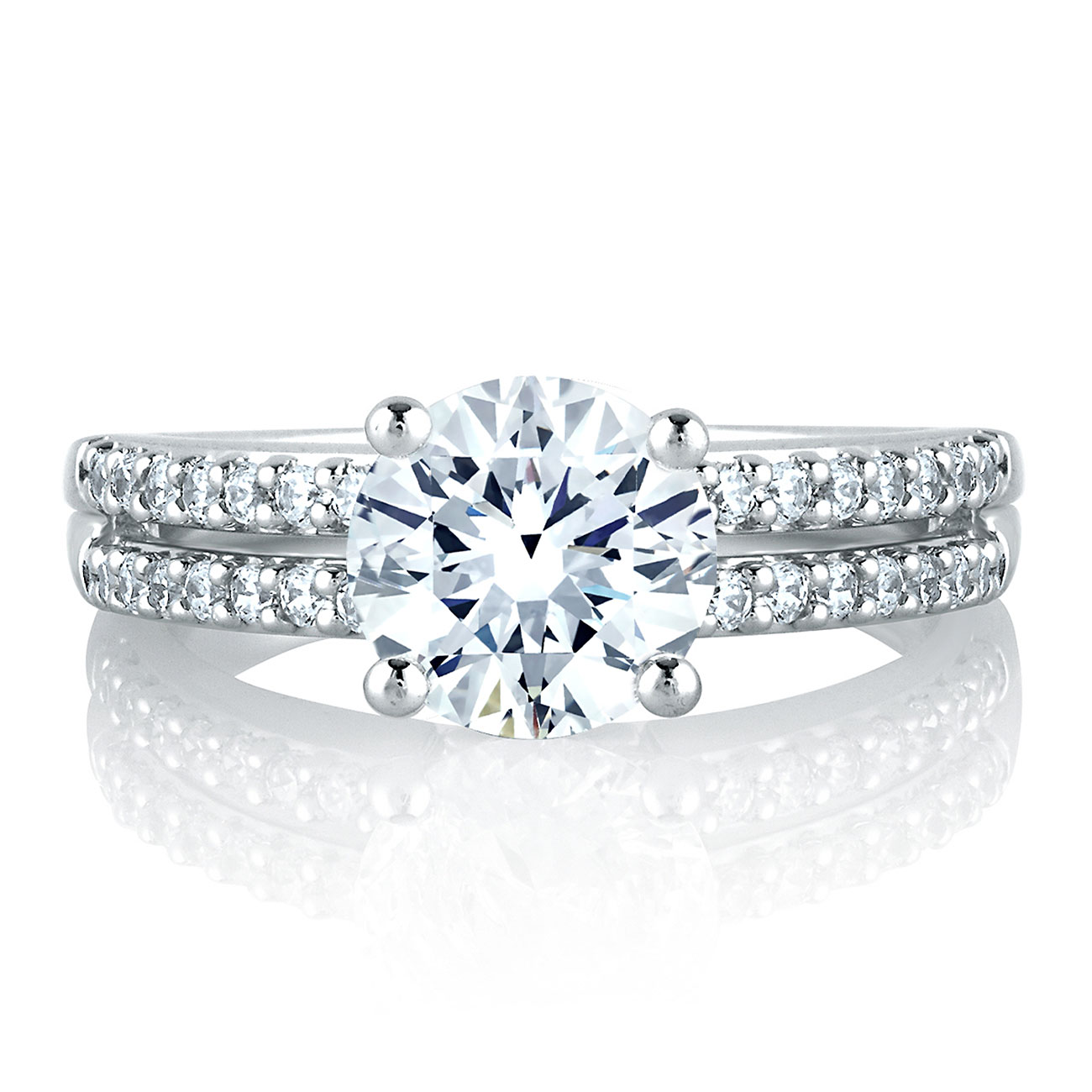 A Jaffe 18 Karat Diamond Engagement Ring MES103 Alternative View 2