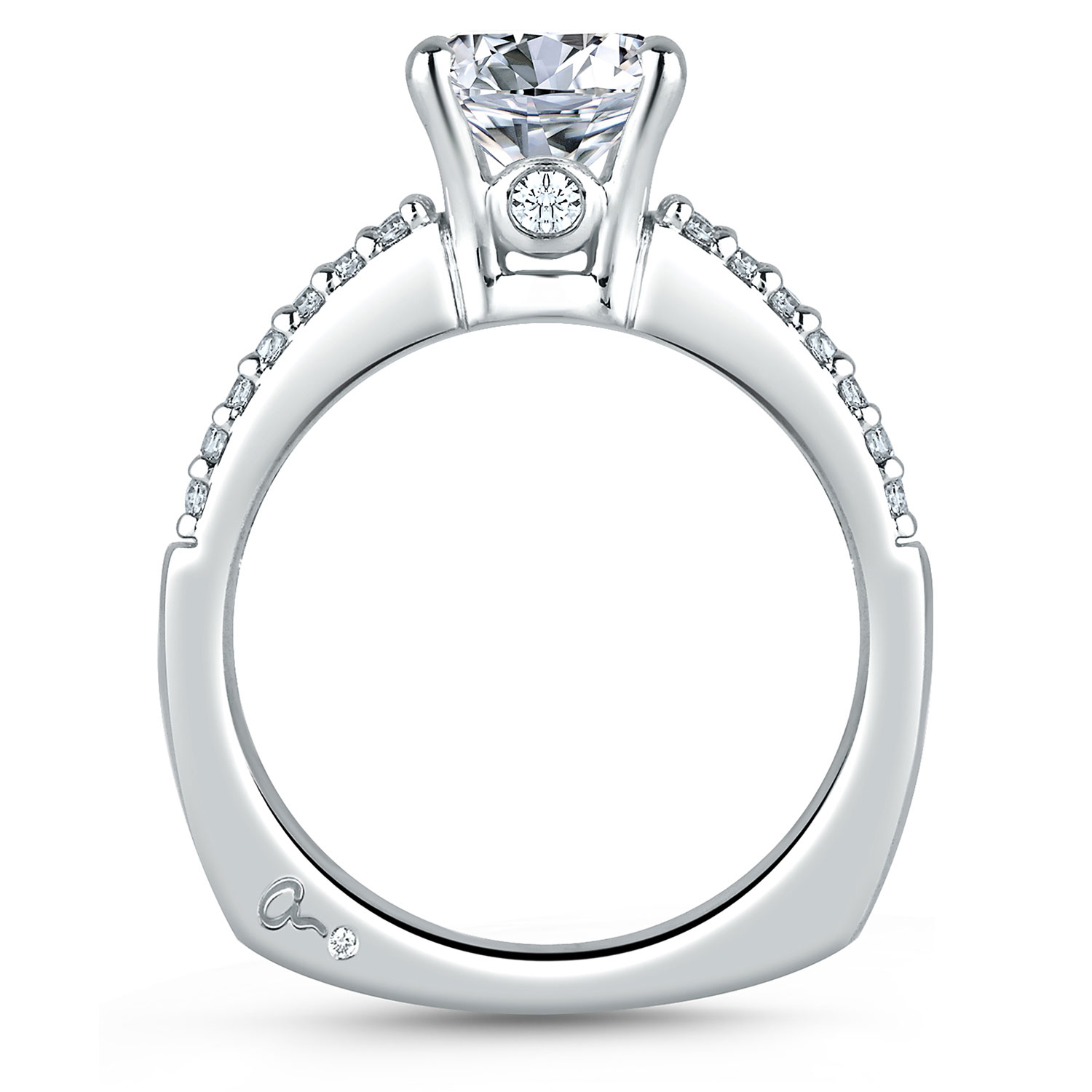 A Jaffe Signature Platinum Engagement Ring MES103 Alternative View 1