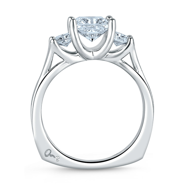 A Jaffe Platinum Three-Stone Engagement Ring MES104 Alternative View 1