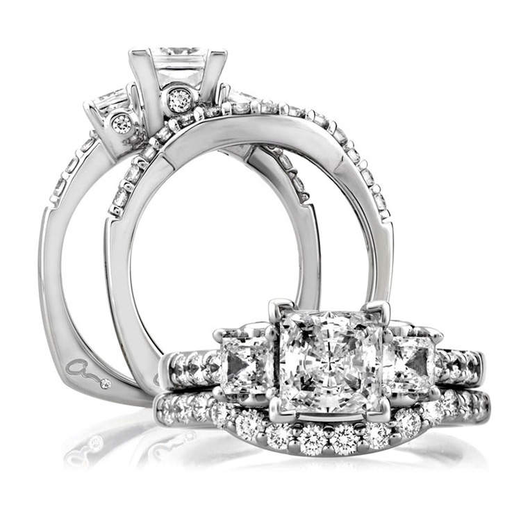 A Jaffe Platinum Three-Stone Engagement Ring MES126 Alternative View 3