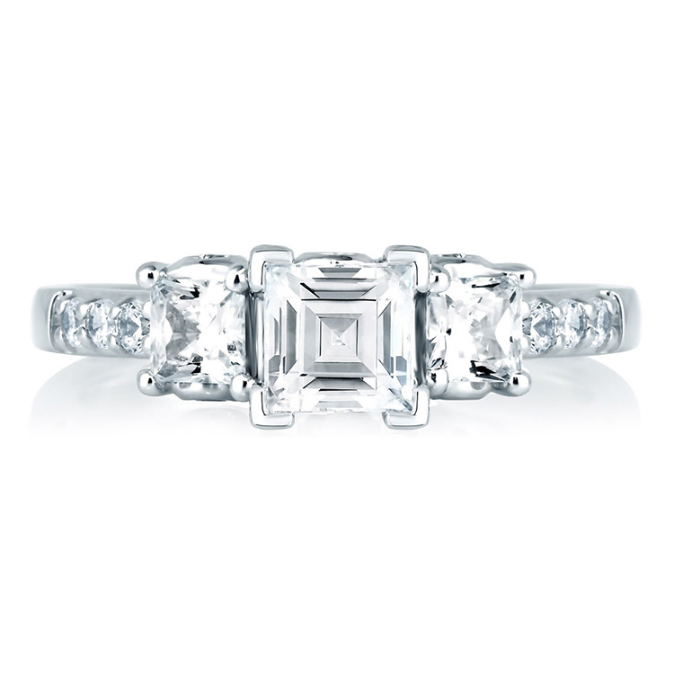 A Jaffe Platinum Three-Stone Engagement Ring MES126 Alternative View 2