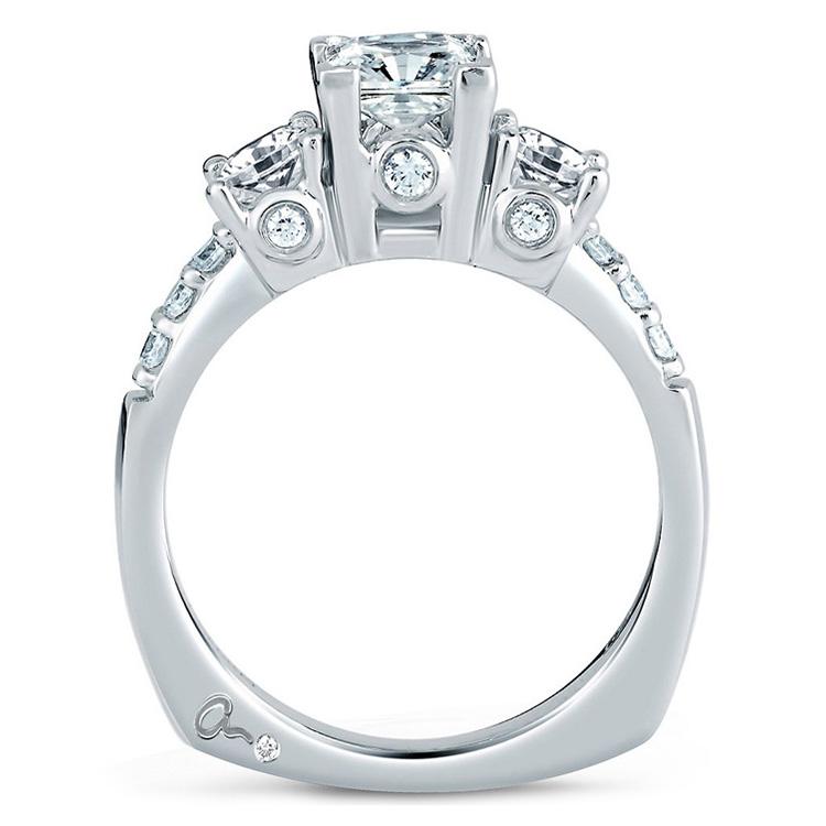 A Jaffe Platinum Three-Stone Engagement Ring MES126 Alternative View 1