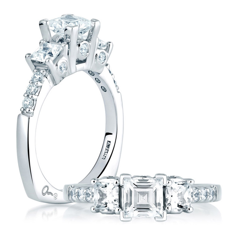 A Jaffe Platinum Three-Stone Engagement Ring MES126