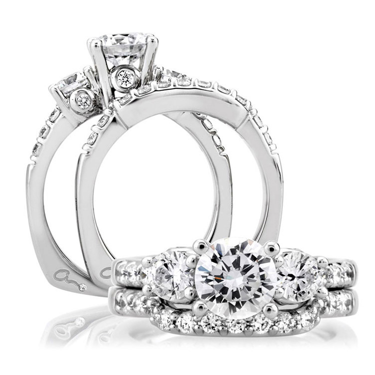 A Jaffe Platinum Three-Stone Engagement Ring MES127 Alternative View 3