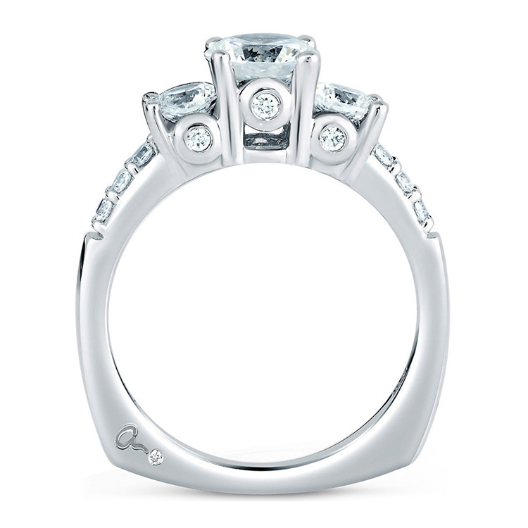 A Jaffe Platinum Three-Stone Engagement Ring MES127 Alternative View 1
