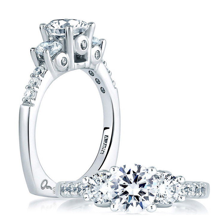 A Jaffe Platinum Three-Stone Engagement Ring MES127