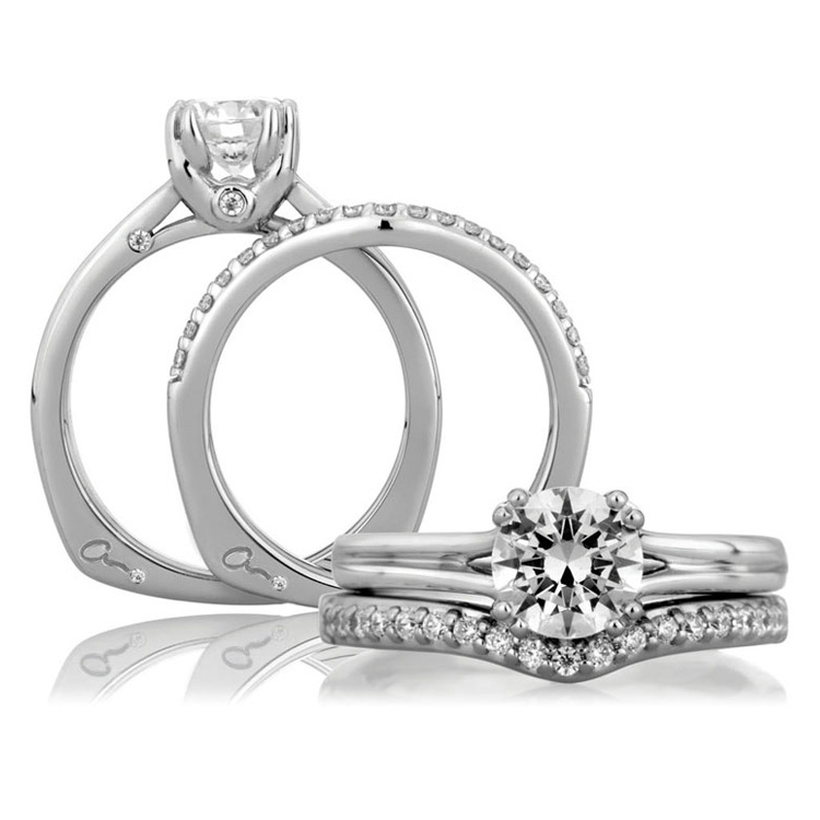 A Jaffe Platinum Solitaire Engagement Ring MES143 Alternative View 3