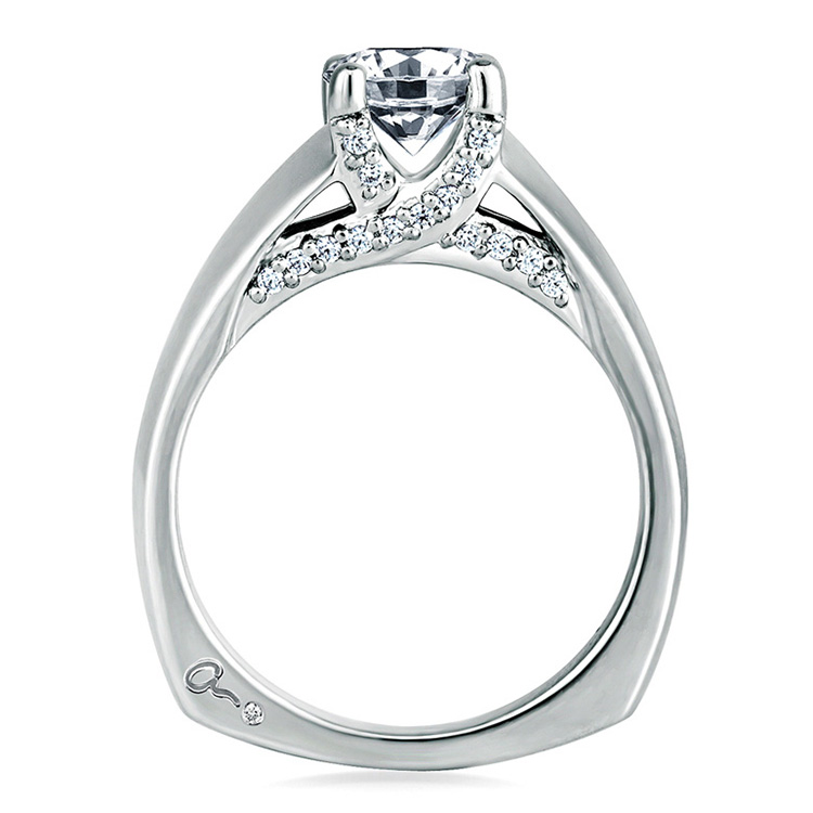 A Jaffe Platinum Signature Engagement Ring MES144 Alternative View 1