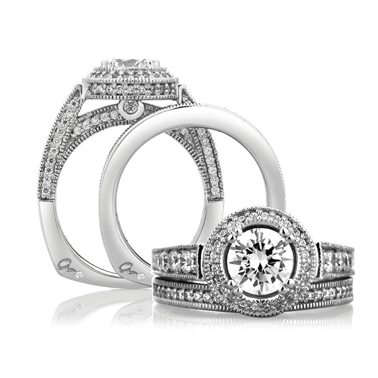 A Jaffe Platinum Signature Engagement Ring MES151 Alternative View 3