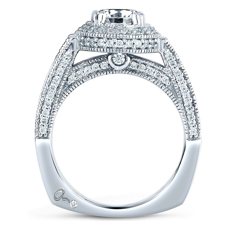 A Jaffe Platinum Signature Engagement Ring MES151 Alternative View 1