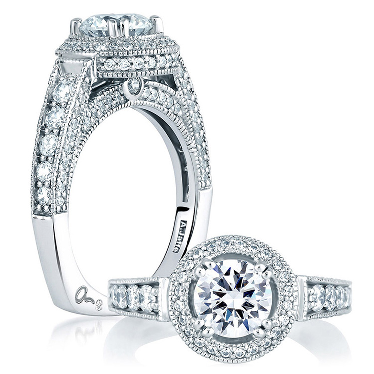 A Jaffe 14 Karat Signature Engagement Ring MES151