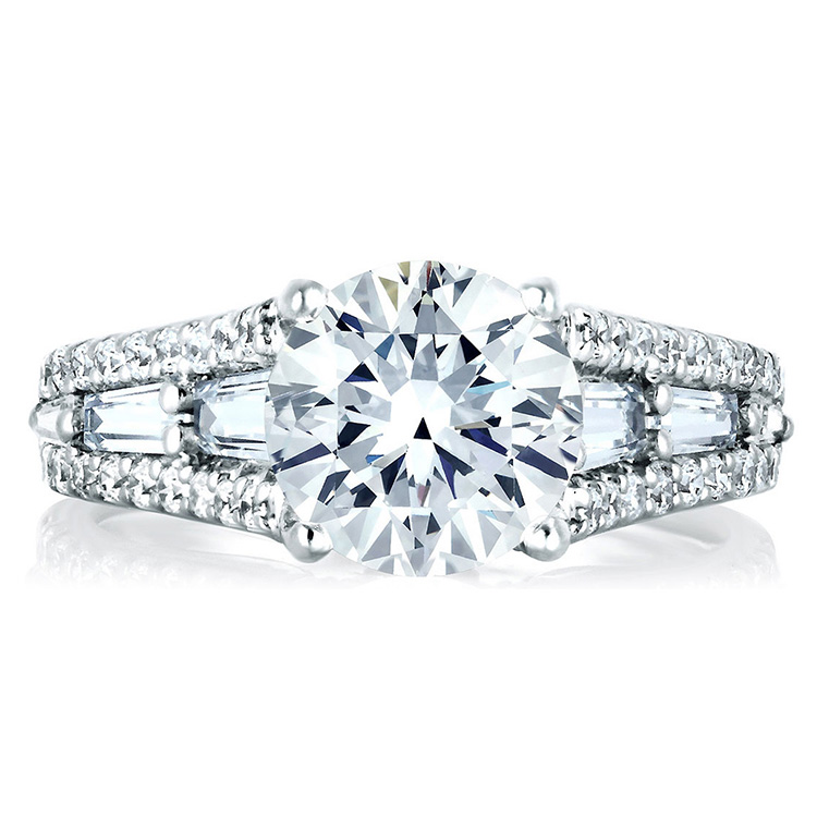 A Jaffe Platinum Signature Engagement Ring MES154 Alternative View 2