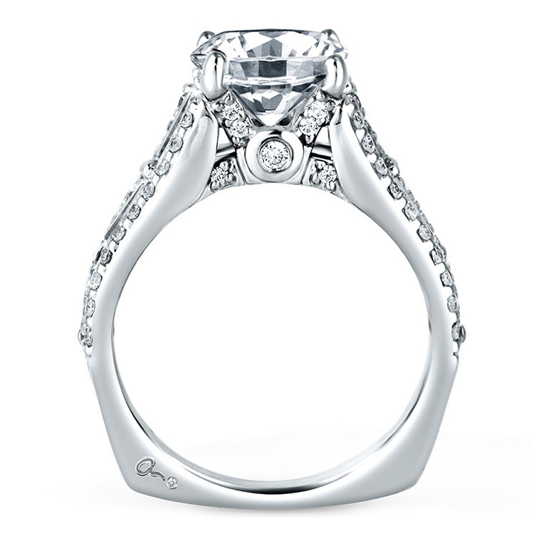 A Jaffe Platinum Signature Engagement Ring MES154 Alternative View 1