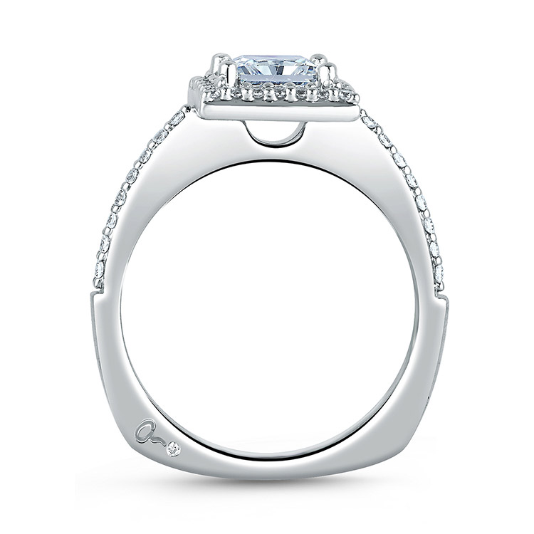 A Jaffe Platinum Signature Engagement Ring MES167 Alternative View 1