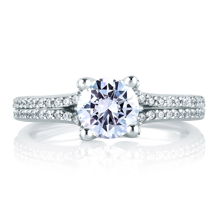 A Jaffe Platinum Signature Engagement Ring MES178 Alternative View 2