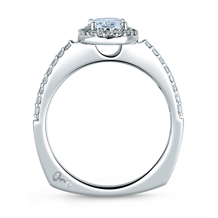 A Jaffe Platinum Signature Engagement Ring MES185 Alternative View 1