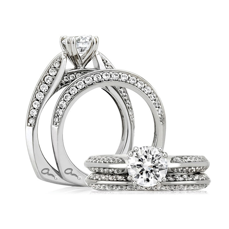 A Jaffe Platinum Signature Engagement Ring MES200 Alternative View 3