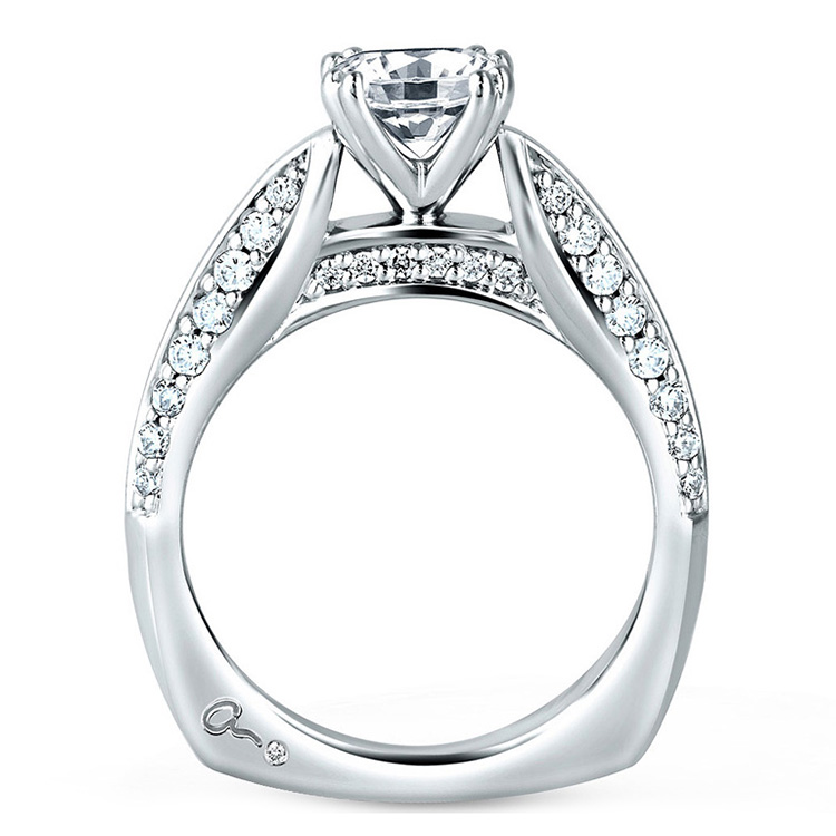 A Jaffe Platinum Signature Engagement Ring MES200 Alternative View 1