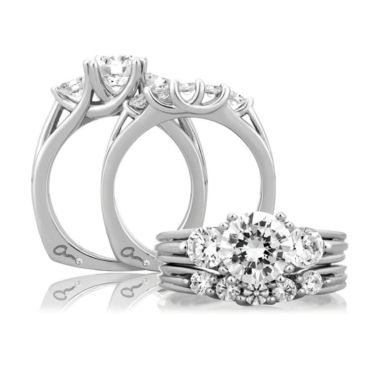 A Jaffe Platinum Three-Stone Engagement Ring MES225 Alternative View 3